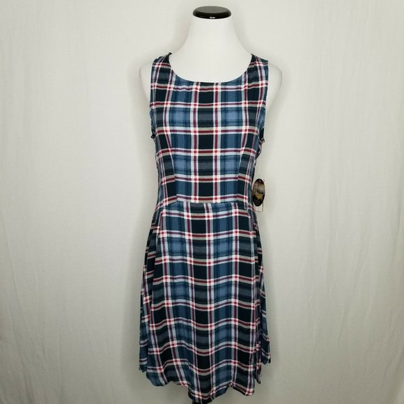 BeBop Dresses & Skirts - Teal Wine Plaid Sleeveless Mini Fit Flare Dress